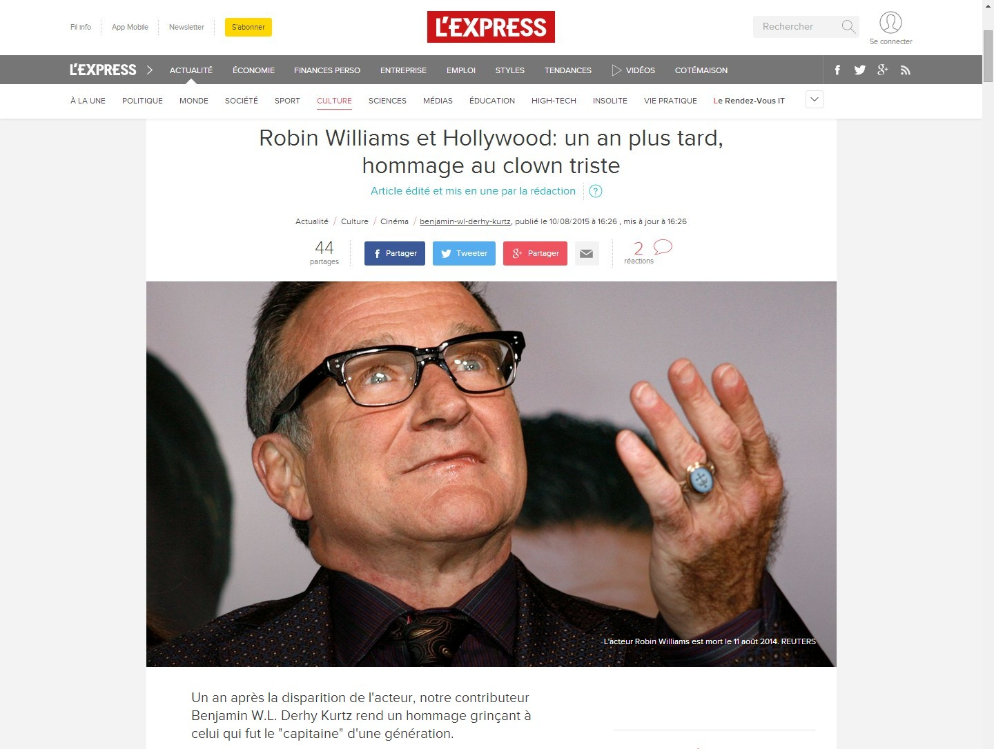 Robin Williams article Express b