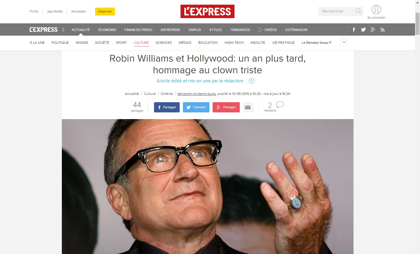 Tribute to Robin Williams published in L'Express